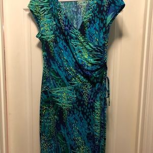 Peacock colored wrap dress
